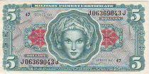5 Dollars Tête de femme - Serie 641