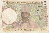 Banque de l´Afrique Occidentale 5 Francs Caféier - Tisseran - 01-08-1935 Série F.1212