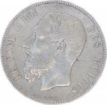 Belgique KM.24 5 Francs, Leopold II - Armoiries - 1875
