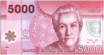 Chili 5000 Pesos Gabriela Mistral - Prix Nobel 1945 - 2012