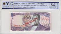 Colombie 100 Pesos oro, Santander - Capitol  -  1977 - PCGS 64