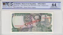 Colombie 200 Pesos oro, Simon Bolivar -  1978 - Spécimen -  PCGS 64