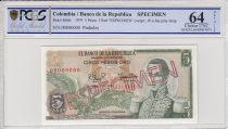 Colombie 5 Pesos de Oro de Oro, Condor, José Maria Cordoba - 1979 - Spécimen - PCGS 64