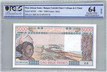Etats de l´Afrique de l´Ouest 5000 Francs Mali - Pirogues de pêche - 1985 - PCGS UNC 64 OPQ