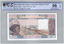 Etats de l´Afrique de l´Ouest 5000 Francs Mali - Pirogues de pêche - 1986 - PCGS UNC 66 OPQ