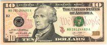 Etats Unis d´Amérique 10 Dollars Hamilton - Batiment du Trésor 2013 B2 New York
