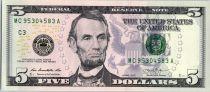 Etats Unis d´Amérique 5 Dollars Lincoln - Lincoln Mémorial 2013 -  C3 Philadelphie