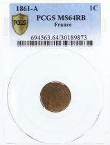 France 1 Centime Napoléon III - Tête Laurée -1861 A - PCGS MS 64