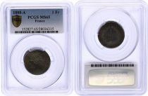 France 1 Franc Ceres - III e Republique - 1888 A Paris - PCGS MS 65