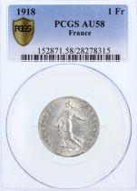 France 1 Franc Semeuse - 1918 - PCGS AU 58