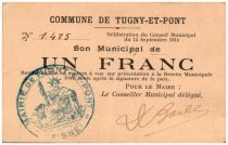 France 1 Franc Tugny-Et-Pont Commune - 1914