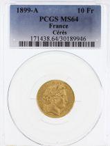 France 10 Francs Cérès - 3ème République 1899 A - PCGS MS 64