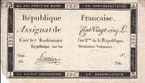 France 125 Livres - 7 Vendémiaire - l\'an 2eme de la République - Sign. Laurier