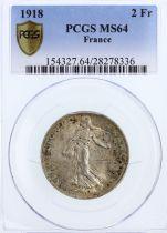 France 2 Francs, PCGS MS 64 Semeuse - 1918 PCGS MS 64