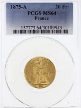 France 20 Francs Génie - III e République - 1875 A - PCGS MS 64