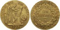 France 24 Livres Constitution - 1793 A - PCGS AU53