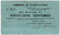 France 25 Centimes Tugny-Et-Pont Commune - 1914