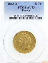 France 40 Francs Louis Philippe Ier TL - 1833 A - PCGS AU 53