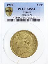 France 5 Francs, PCGS MS64 Lavrillier - 1940 - PCGS MS 64