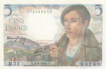 France 5 Francs Berger - 05-08-1943 Série M.71