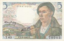 France 5 Francs Berger - 05-08-1943 Série T.63