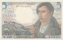 France 5 Francs Berger - 30-10-1947 Série E.152