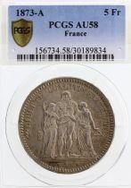 France 5 Francs Hercule - III e République - 1873 A - PCGS AU 58
