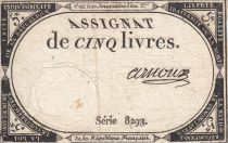 France 5 Livres 10 Brumaire An II (31.10.1793) - Sign. Arnoux