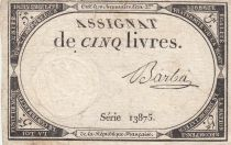 France 5 Livres 10 Brumaire An II (31.10.1793) - Sign. Barba