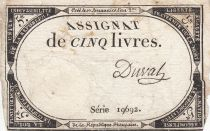 France 5 Livres 10 Brumaire An II (31.10.1793) - Sign. Duval (1)