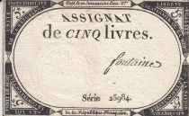 France 5 Livres 10 Brumaire An II (31.10.1793) - Sign. Fontaine