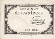 France 5 Livres 10 Brumaire An II (31.10.1793) - Sign. Gilliero