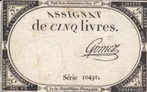 France 5 Livres 10 Brumaire An II (31.10.1793) - Sign. Gomez