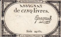 France 5 Livres 10 Brumaire An II (31.10.1793) - Sign. Gourgaud