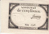 France 5 Livres 10 Brumaire An II (31.10.1793) - Sign. Jeanneau