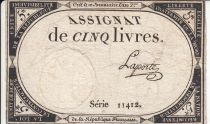 France 5 Livres 10 Brumaire An II (31.10.1793) - Sign. Laporte