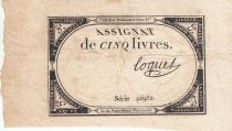 France 5 Livres 10 Brumaire An II (31.10.1793) - Sign. Loquet