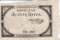 France 5 Livres 10 Brumaire An II (31.10.1793) - Sign. Martin