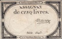 France 5 Livres 10 Brumaire An II (31.10.1793) - Sign. Mauroy