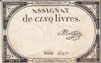 France 5 Livres 10 Brumaire An II (31.10.1793) - Sign. Mortier