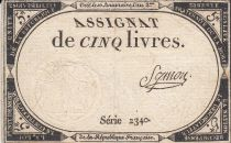 France 5 Livres 10 Brumaire An II (31.10.1793) - Sign. Symon