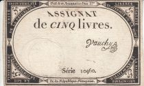 France 5 Livres 10 Brumaire An II (31.10.1793) - Sign. Vauchy