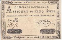 France 5 Livres Timbre sec Louis XVI - 01-11-1791 - Série 57 K