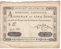 France 5 Livres Timbre sec Louis XVI - 06-05-1791 - Série 8 E