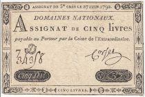 France 5 Livres Timbre sec Louis XVI - 27-06-1792 - Série 7 D