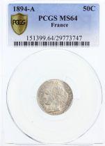 France 50 Centimes Cérès - III e République - 1894 A PCGS MS 64