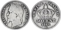 France 50 Centimes Francs Ceres - III ème République - 1866  A Paris