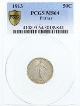 France 50 Centimes Semeuse - 1913 - PCGS MS 64