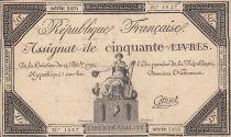 France 50 Livres - 14 Décembre 1792 - République Française - Sign. Cottenel