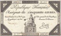 France 50 Livres France assise - 14-12-1792 - Sign. Dasse